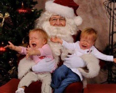 santa scaring two kids