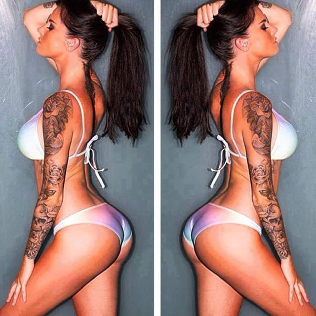 hot sleeve tattoo girl in white bikini