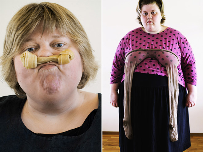 fat women poses awkwardly