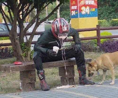 biker throws up in helmet