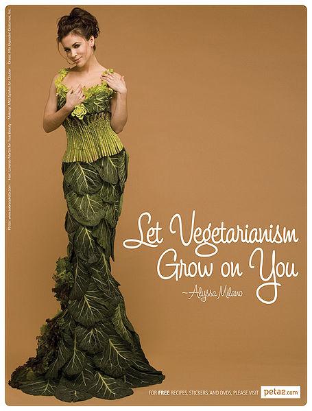 alyssa milano peta vegetable dress advertising campaign