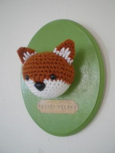 baby fox crochet taxidermy