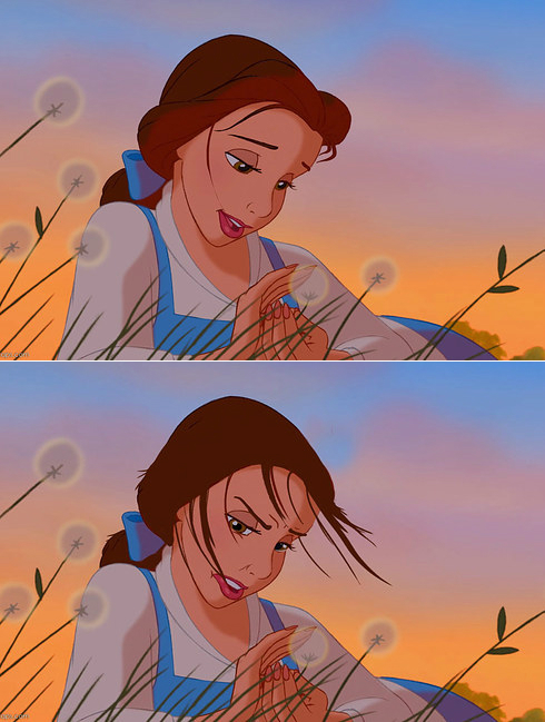 belle with hair stuck to lipgloss disney princesses with realistic hair