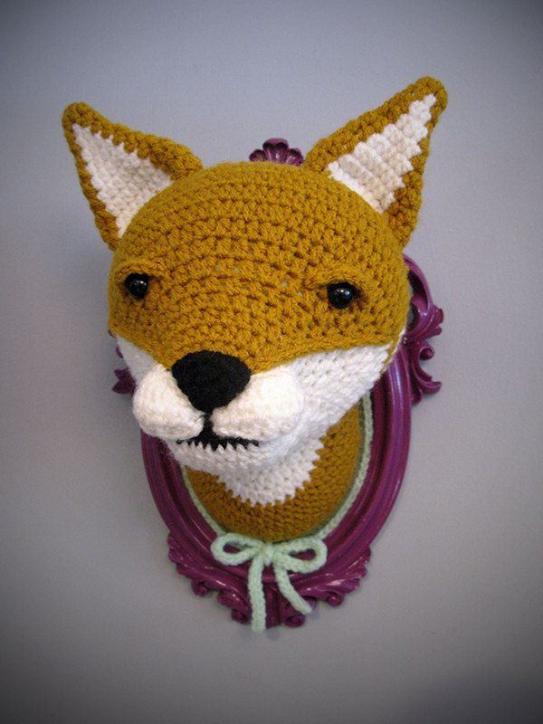 crochet taxidermy fox head on purple frame