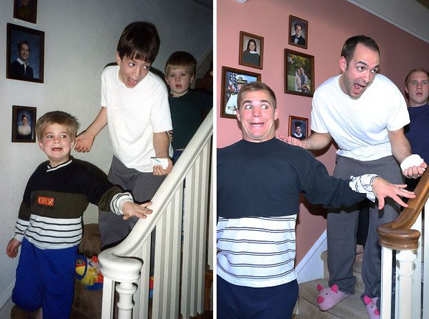 cute brothers recreate photos from their childhood