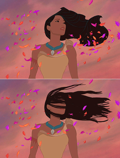 pocahontas with windswept hair disney princesses with realistic hair