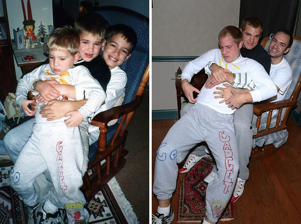 sons surprise mum by recreating childhood snaps