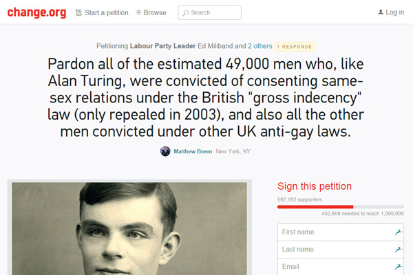 alan turning pardon gay men petition