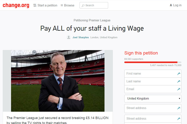 change org petition to pay all staff a living wage