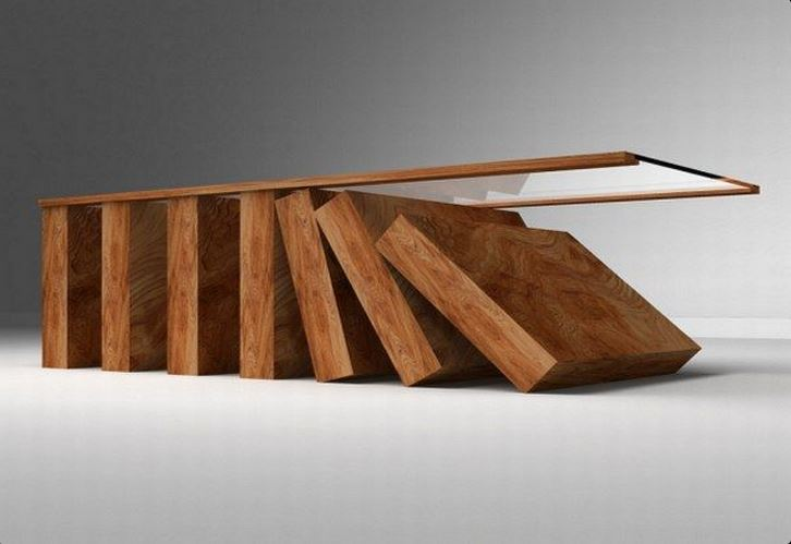 coffee table | falling dominoes coffee table with glass top
