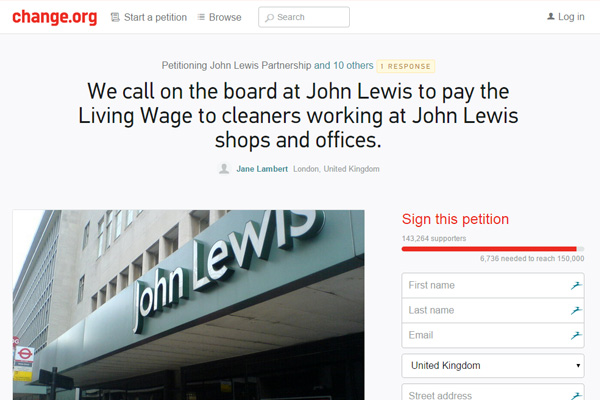 John Lewis living wage petition