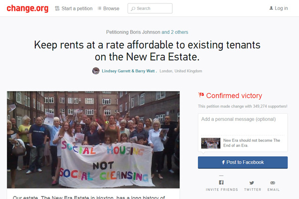 new era housing estate change org petition less support than jeremy clarkson