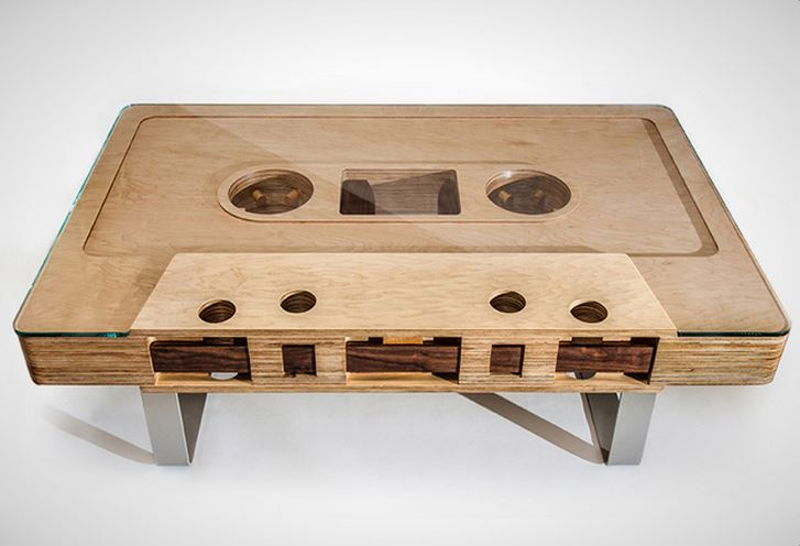 coffee table | wooden cassette coffee table with glass top