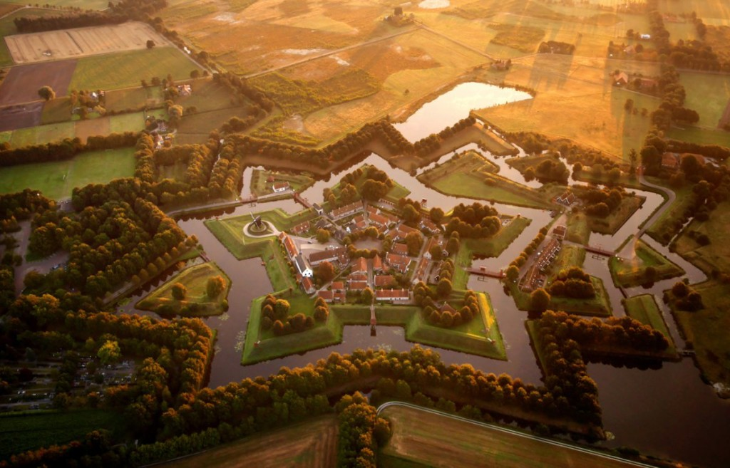 aerial drone photo of star fort at Bourtange in the netherlands