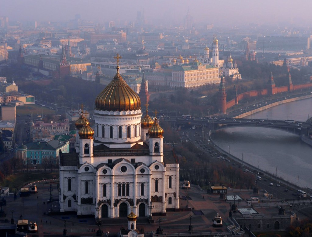 aerial drone photography of cathedral of christ the saviour