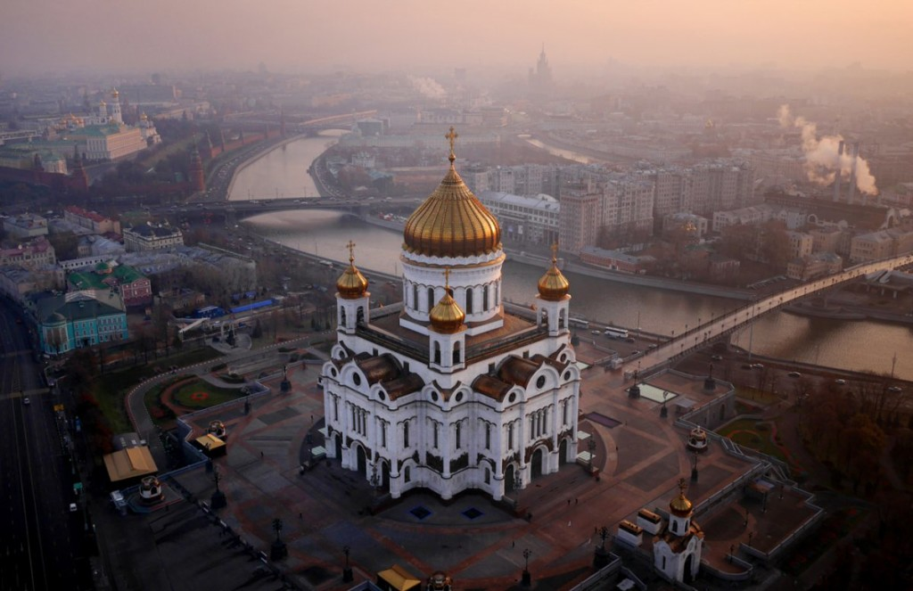 aerial photograph of the cathedral of christ the saviour