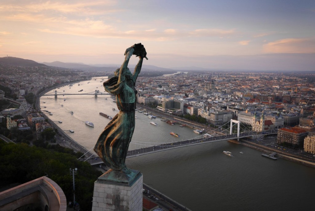 aerial photograph of the liberty statue in budapest