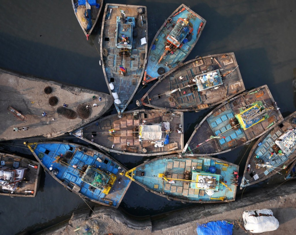 fishing boats aerial drone photography