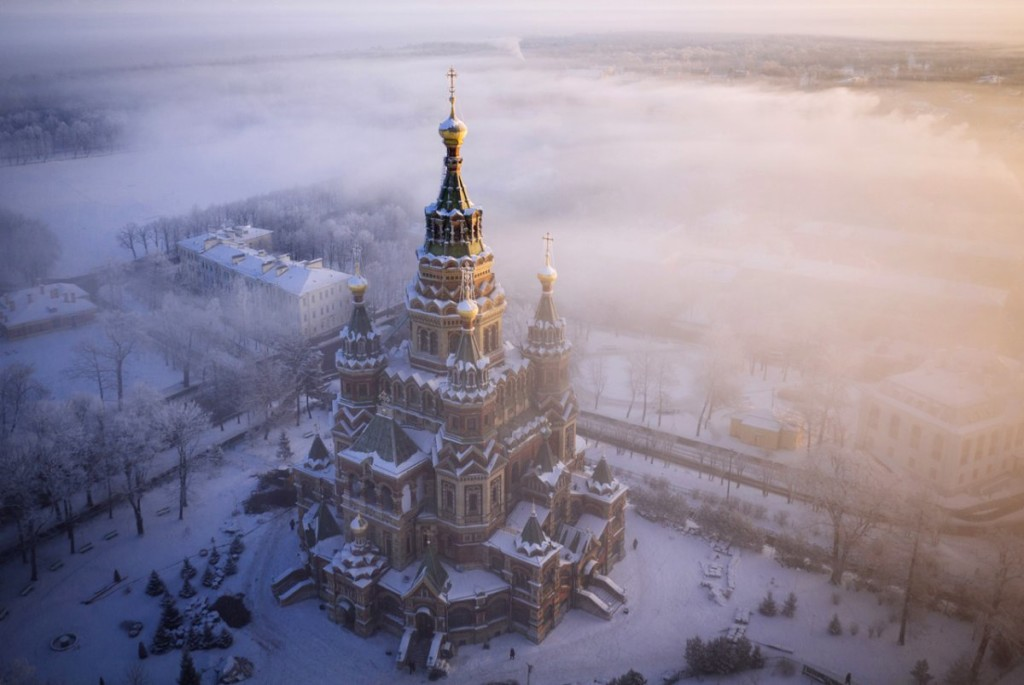 gorgeous aerial photography of Peter and Paul Cathedral in Peterhof in russia