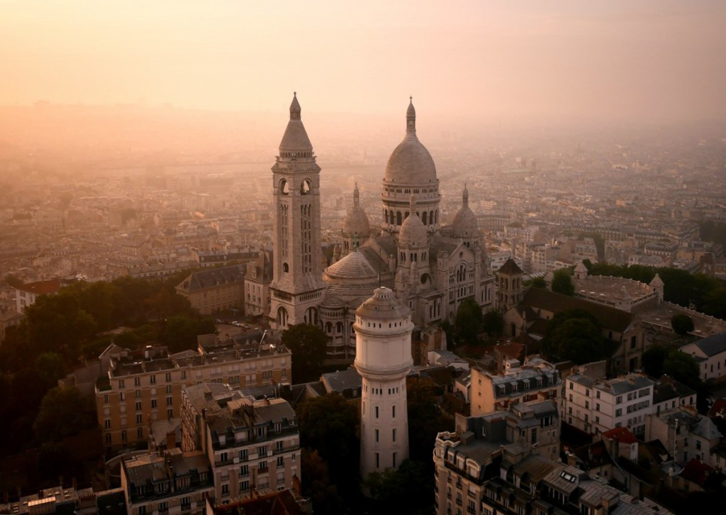 incredible drone photography of paris sacre-ceur