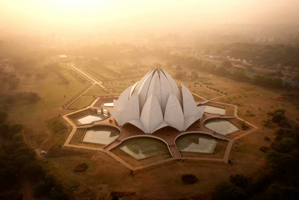 lotus temple in stunning drone photograph