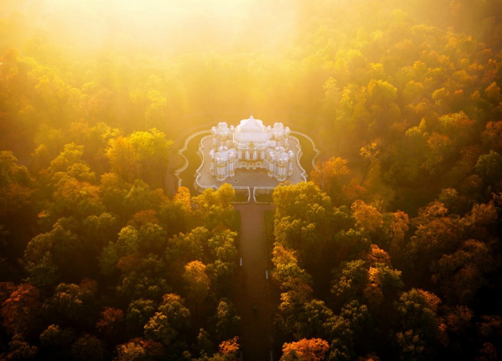 photographer captures stunning aerial drone photography of the Hermitage Pavilion near Saint Petersburg in russia