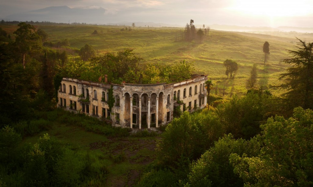 ruins of a college in georgia as photographed from an aerial drone