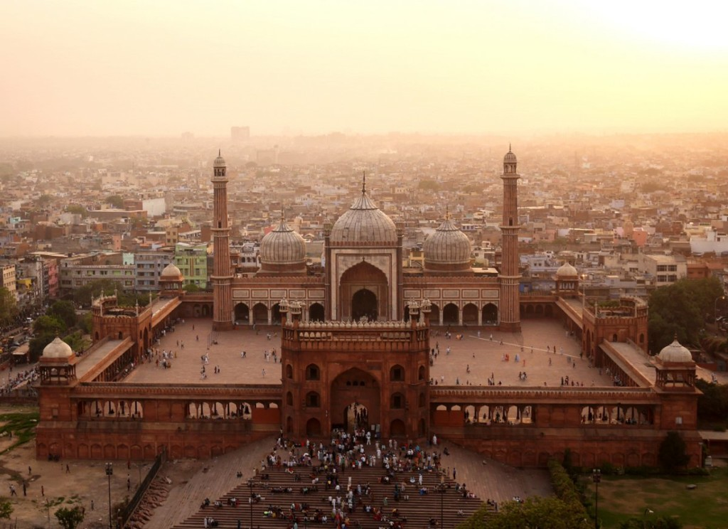 the jama masjid photographed from the air
