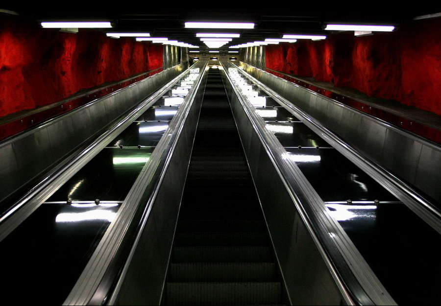 sweden subway escalator