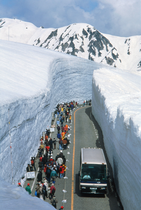 tourists wait for coach in plowed snow in japan