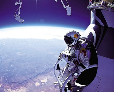 man freefalls from space